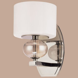 Troy Lighting - Fizz 1-Light Wall Sconce by Troy Lighting - Modern lighting suitable for bedroom, bathroom and beyond. The Troy Lighting Fizz 1-Light Wall Sconce features a drum Gloss White glass shade mounted atop a gleaming metal base finished in Polished Nickel. The shimmer of both structures is enhanced by a warm, pearlescent Topaz glass sphere accent on the light holder.Troy Lighting, headquartered in California, designs and manufactures indoor and outdoor lighting fixtures, utilizing hand-forged iron and hand-applied finishes to create quality products with high-style appeal.The Troy Lighting Fizz 1-Light Wall Sconce is available with the following:Details:Drum-shaped Gloss White glass shadeMetal frame with Topaz glass beadPolished Nickel finishOblong wall plateUL Listed for damp locationsLighting:One 40 Watt 120 Volt Type G9 Xenon lamp (included).Shipping:This item usually ships within 1-2 weeks.