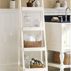 """Bath Ladder Storage, White - Smart storage design is key to expanding your options in a small bathroom. 17"""" wide x 14.5"""" deep x 53.5"""" high Expertly crafted with a solid-birch frame with a white painted finish. Freestanding 4-shelf unit offers an easy, no-installation solution for added storage. See this item featured in {{link path='pages/popups/asi_fh_1010.html' class='popup' width='720' height='800'}}Fresh Home Magazine{{/link}}. Catalog / Internet Only. Assembly required."""