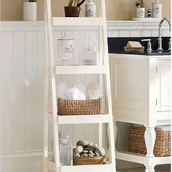 "Bath Ladder Storage, White - Smart storage design is key to expanding your options in a small bathroom. 17"" wide x 14.5"" deep x 53.5"" high Expertly crafted with a solid-birch frame with a white painted finish. Freestanding 4-shelf unit offers an easy, no-installation solution for added storage. See this item featured in {{link path='pages/popups/asi_fh_1010.html' class='popup' width='720' height='800'}}Fresh Home Magazine{{/link}}. Catalog / Internet Only. Assembly required."