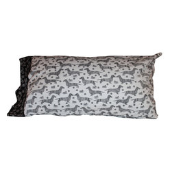 Stark Interiors - Dachshund Pillow Case, Black and White, King - Dachshund pillow cases, cotton