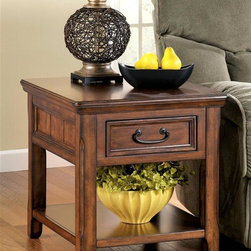 Signature Design by Ashley - End Table w Drawer & Shelf - Favorite country embellishments are featured in the Woodboro end table. Beadboard insets at the sides pair with a panel drawer front accented with a bail handle. A classic oak veneer over hardwood framing makes this a wonderful choice for rustic decor. Color/Finish: Dark Brown. Made from select hardwoods and Oak veneer. Dark Bronze colored hardware. Framed drawer fronts. End table work center has file cabinet. Half the tops pulls out to reveal lap top or media storage. Front tilts open to reveal lap top port with internet connection. 24 in. W x 27-36 in. D x 25 in. H