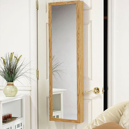 None - Oak Wood Hanging Armoire Mirror - Get your jewelry collection organized and add a stylish element to your space with this oak jewelry armoire mirror. This handsome,full-length mirror provides practical jewelry storage while giving you a head-to-toe view of yourself.