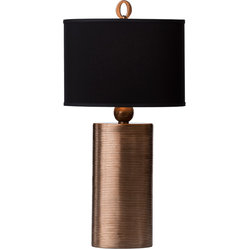 Thumprints Mirage Grooved Metal Table Lamp with Black Shade