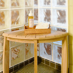 Teak Corner Shower Stool - Teak Shower Chairs' corner teak shower bench with shelf also works well as a small corner table in seating arrangements or as a night stand.