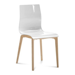 Domitalia - Gel-L Chair - White - Ash White Frame - Set of 2 - Domitalia's Gel-L chair is simple and sleek, a natural companion to nearly any modern table. A transparent or opaque glossy seat adds a playful contrast to the solid ashwood frame in a natural or white lacquer finish. The plastic shell is available in seven color options: Transparent Orange, Transparent Blue, White, Transparent Smoke, Black, Transparent Red or Transparent Green. Sold only in sets of 2.