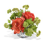 New Growth Designs - Garden Roses & Viburnum Bouquet - Lavish, romantic and ... silk? Believe it or not, this arrangement of full-bloom roses and budding viburnum will last forever in your favorite setting. So lifelike and lovely, everyone will think you cut them from your garden this morning.