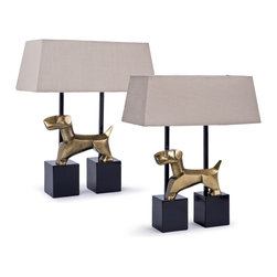 Kathy Kuo Home - Pair of Stone Metal Terrier Dog Table Lamps - Quite frankly, it doesn't really matter who let the dogs out. Especially when they end up on this set of table lamps in a lovely sculpture. Cast metal in the shape of terriers grace the base of these contemporary, yet classically shaped lamps providing whimsical appeal to your home or office.