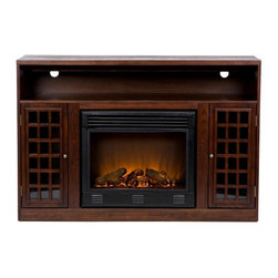 Holly & Martin - Narita Media Electric Fireplace - Eco-friendly. Two side cabinets. One adjustable shelf in each cabinet. One open shelf. Two rear openings for cord management for media equipment and game consoles. Perfect for any room. Beautiful media room accent. Remote control requires two AAA batteries. Realistic flickering flame effect. Long life LED lights. 120V-60Hz, 1500W / 5000 BTUs, 12.5 Amp. Easy to use adjustable thermostat. Safety thermal overload protector. Adjustable flame brightness control. Plugs into standard wall outlet with 6 ft. cord. Tested to heat 1500 cubic feet in only 24 minutes. Uses about the same energy as coffee maker. 100% energy efficient with low operating costs. Produces zero emissions and pollutants. No combustion glass remains cool to touch. Mantel supports upto 85 lbs.. Ideal for upto 50 in. flat screen television. Made from Asian hardwood, E1 MDF, veneer, metal, resin and glass. Assembly required. Firebox front: 23 in. W x 20 in. H. Open shelf: 46 in. W x 15 in. D x 5.25 in. H. Side cabinet: 9 in. W x 14 in. D x 21 in. H. Overall: 48 in. W x 16.25 in. D x 32.5 in. H (129 lbs.)Modern conveniences and the relaxing glow of fire are all combined into this luxurious piece. Finished with a rich espresso stain. Portability and ease of assembly are just two of the reasons why our fireplace mantels are perfect for your home. Requiring no electrician or contractor for installation allows instant remodeling without the usual mess or expense. Use this great functional fireplace to make your home a more welcoming environment.