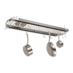 J.K. Adams - Ceiling Oval Pot Rack, Gray - If you've got a cabinet-challenged kitchen, look no further than over your head. The metal grid holds a heck of a lot of pots, pans, lids and utensils. Hang it up and get cooking!