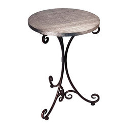EttansPalace - Elegant Beziers Metal Bistro Table - Bring French style to your home or garden with our casually elegant, high-quality bistro table. For sunroom, patio or covered terrace, our metal tripod base balances an exotic embossed silver toned metal top.