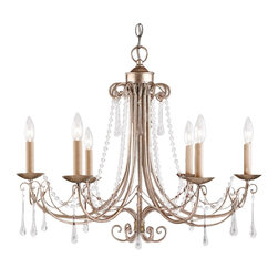"""Crystorama Lighting Group - Cambridge 6 Light Chandelier - Elongated crystal drops and glass bead """"chains"""" dress the Cambridge Collection delivering a refined presentation and the Antique Silver (AS) finish has an air of formality."""