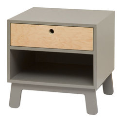 Oeuf Nursery Cribs and Furniture - Oeuf Sparrow Nightstand in Gray - Completing the Sparrow suite, Oeuf offers The Sparrow Nightstand. In solid birch offset by one of the subtle Sparrow colors, the night stand is one of your child's first real pieces of furniture, and a perfectly matched addition to the set.