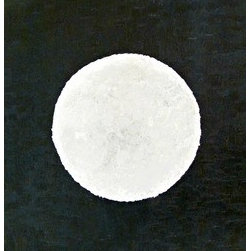 Lunar  (Original) by Kindle Meek - This minimalistic piece has a background of dark blues, browns and black in a choppy, heavy texture. The white represents stark contrast against a dark background and is made of white to light gray textures which vary from the background. The piece's edges are painted to match its face.