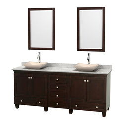 "Wyndham Collection - 80"" Acclaim Double Vanity w/ White Carrera Marble Top & Avalon Ivory Marble Sink - Sublimely linking traditional and modern design aesthetics, and part of the exclusive Wyndham Collection Designer Series by Christopher Grubb, the Acclaim Vanity is at home in almost every bathroom decor. This solid oak vanity blends the simple lines of traditional design with modern elements like beautiful overmount sinks and brushed chrome hardware, resulting in a timeless piece of bathroom furniture. The Acclaim comes with a White Carrera or Ivory marble counter, a choice of sinks, and matching mirrors. Featuring soft close door hinges and drawer glides, you'll never hear a noisy door again! Meticulously finished with brushed chrome hardware, the attention to detail on this beautiful vanity is second to none and is sure to be envy of your friends and neighbors"
