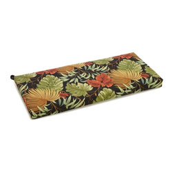 Blazing Needles - All-Weather UV-Resistant Outdoor Loveseat/Bench Cushion with Zipper Closure - Add comfort and style to your favorite patio or outdoor loveseat with this outdoor bench cushion. This lovely bench cushion is UV resistant and made to last a long time. It features lovely stripes of warm colors and is three inches thick.