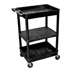 """Luxor - Luxor Tub Cart - STC121-B - These Luxor STC series utility carts are made of high density polyethylene structural foam molded plastic shelves and legs that won't stain, scratch, dent or rust. Features a retaining lip around the back and sides of flat shelves. Includes four heavy duty 4"""" casters, two with brake. Has a push handle molded into the top shelf."""