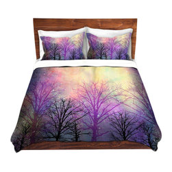 DiaNoche Designs - Duvet Cover Microfiber - Trees - Super lightweight and extremely soft Premium Microfiber Duvet Cover in sizes Twin, Queen, King.  This duvet is designed to wash upon arrival for maximum softness.   Each duvet starts by looming the fabric and cutting to the size ordered.  The Image is printed and your Duvet Cover is meticulously sewn together with ties in each corner and a hidden zip closure.  All in the USA!!  Poly top with a Cotton Poly underside.  Dye Sublimation printing permanently adheres the ink to the material for long life and durability. Printed top, cream colored bottom, Machine Washable, Product may vary slightly from image.