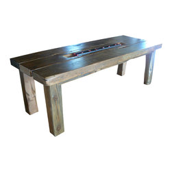 eastmantribe - Barn Table - Made from salvaged industrial warehouse beams made of Douglas Fir wood, the rustic barn table features a sculpted well in the center piece that holds a iron beam from local railroad tracks that serve as tea candle holders.