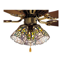 """Meyda Tiffany - Meyda 4""""W Wisteria Fan Light Shade - Stylized wisteria flower clusters of China Pink, Grape and Amethyst Blue with Jade Green leaves drape over this Ivory toned graceful copper foil fan light shade. The classic styling of this Tiffany style stained glass shade and soft pastel colors will add charm to any room."""