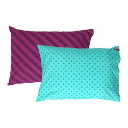 SWENYO - Teal Polka Dot and Purple Stripe Pillow Case Set - Same is lame. Our unique pillowcases will add color and personality to any space. Hand-selected by our team of designers, this contrasting pillowcase set has vibrant colors and an incredibly soft feel finished with our signature red SWENYO tag.