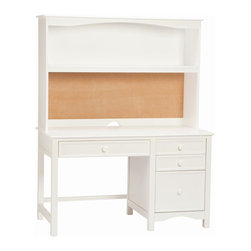 Bolton Furniture - Wakefield Pedestal Desk & Hutch in White Finish - Includes desk and hutch. Solid frame construction built to last. 4 Sided dovetailed drawer box construction. Under mount self-closing drawer glides. Made of solid wood and veneers. Desk:. 4 Drawers. 52 in. W x 25 in. D x 30 in. H (116 lbs.). Hutch:. 2 Shelves. 52 in. W x 13 in. D x 36 in. H. Assembly required. 1-Year warranty