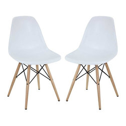 Modway - Pyramid Dining Chairs Set of 2 in White - These molded plastic chairs are both flexible and comfortable, with an exciting variety of base options. Suitable for indoors or out, appropriate for the living and dinning room, these versatile chairs are a great addition to any home dcor statement.