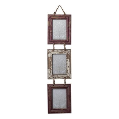 Sterling Industries - Set of Picture Frames with Natural Rope Hanger in Distressed Country Red and Whi - Set of Picture Frames with Natural Rope Hanger in Distressed Country Red and White by Sterling Industries