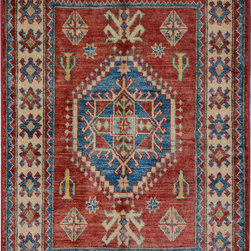 """ALRUG - Handmade Red/Rust Oriental Kazak Rug 2' 11"""" x 4' 3"""" (ft) - This Afghan Kazak design rug is hand-knotted with Wool on Cotton."""