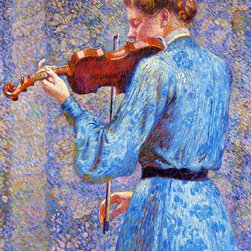 """Theo Van Rysselberghe The Violinist - 18"""" x 24"""" Premium Archival Print - 18"""" x 24"""" Theo Van Rysselberghe The Violinist premium archival print reproduced to meet museum quality standards. Our museum quality archival prints are produced using high-precision print technology for a more accurate reproduction printed on high quality, heavyweight matte presentation paper with fade-resistant, archival inks. Our progressive business model allows us to offer works of art to you at the best wholesale pricing, significantly less than art gallery prices, affordable to all. This line of artwork is produced with extra white border space (if you choose to have it framed, for your framer to work with to frame properly or utilize a larger mat and/or frame).  We present a comprehensive collection of exceptional art reproductions byTheo Van Rysselberghe."""