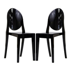 Modway Furniture - Modway Casper Dining Chairs Set of 2 in Black - Dining Chairs Set of 2 in Black belongs to Casper Collection by Modway Combine artistic endeavors into a unified vision of harmony and grace with the ethereal Casper Chair. Allow bursts of creative energy to reach every aspect of your contemporary living space as this masterpiece reinvents your surroundings. Surprisingly sturdy and durable, the Casper Chair is appropriate for any room or outdoor setting. Pure perception awaits, as shining moments of brilliance turn visual vacuums into new realms of transcendence. Set Includes: Two - Casper Side Chairs Side Chair (2)