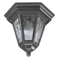 Joshua Marshal - One Light Baltic Granite Clear Water Glass Glass Outdoor Flush Mount - One Light Baltic Granite Clear Water Glass Glass Outdoor Flush Mount