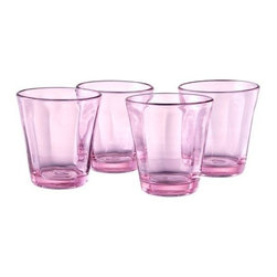 Artland Inc. Kassie Pink Double Old-Fashioned Glasses, Set of 4 - These dishwasher-safe glasses will set the stage for a pretty brunch, or just everyday use.