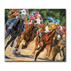 """Pay Dirt 32x40 Print - """"Pay Dirt"""" is a canvas giclee portraying a horse race by Sharon Crute.  This 32x40 canvas is gallery wrapped . We take the fine art canvas and stretch it over a wooden frame, adhering the canvas to the backside of the frame. The canvas actually wraps around the edges of the frame, giving your print the look of a fine piece of art, such as you might find in an art gallery. There is no need for a picture frame. Your piece of art is ready to hang or lean against a wall, or display on an easel."""
