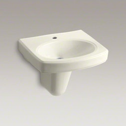 KOHLER - KOHLER Pinoir(R) wall-mount bathroom sink with single faucet hole - With its ridged edges and subtle curves, the Pinoir pedestal sink is a versatile choice for a wide range of bathroom decorating styles. This wall-mount model is an ideal choice for small spaces. The included Pinoir shroud enhances the design by hiding pipes.