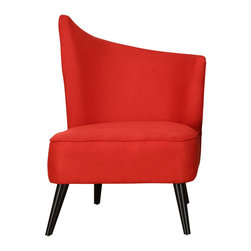 "Armen Living - Elegant Accent Chair With Flaired Back, Right Side In Red Microfiber - Combining retro-chic charm with a contemporary flair, make this an eye-catching addition to your living room, den, or master suite. Seat Dimensions 21""D x 26"" W x 19""H, Back Heightt: Low 31""H, High 39""H"