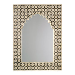 """Jamie Young - Jamie Young Mirror Taj - Not only do we adore the Jamie Young Company for their fine hand craftsmanship, quality materials and strong design, we also admire their environmental consciousness as they utilize renewable resources, recycled boxes and packaging materials. Inspired by the designer's travels to the Taj Mahal, this mirror evokes worldly exoticism with a patterned leather frame in black and beige. Sophisticated yet unexpected, this piece unleashes an eclectic vibe in foyers and bedrooms alike. 36""""W x 1.5""""D x 48""""H."""