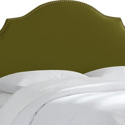 Skyline Furniture MFG - Nail Button Notched Velvet Upholstered Headboard - 830NB-BRVLVAPL - Shop for Headboards and Footboards from Hayneedle.com! A curvaceous shape and luxuriously soft velvet upholstery make the Tufted Notched Velvet Upholstered Headboard a dreamy place to rest your head. This solid pine headboard features graceful curves and notches layered with plush foam padding. Sumptuously soft polyester velvet is available in several color option and is trimmed in nail head buttons. This headboard comes in select size options. Attaches to a standard bed frame.Bed Dimensions:Twin: 4L x 41W x 54H in.Full: 4L x 56W x 54H in.Queen: 4L x 62W x 54H in.King: 4L x 74W x 54H in.California King: 4L x 78W x 54H in.About Skyline Furniture Manufacturing Inc.Skyline Furniture was founded in 1948 with the goal of producing stylish affordable quality furniture for the home. After more than 50 years this family-run business is still designing and manufacturing unique products that meet the ever-changing demands of the modern home furnishing industry. Located in the south suburbs of Chicago the company produces a wide variety of innovative products for the home including chairs headboards benches and coffee tables.