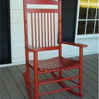Dixie Seating - Standard Slat Porch Rocking Chair in Red Fini - Designed for both indoor or outdoor use, this classic rocking chair will be an inviting choice for any front or back porch. Ideal for enjoying a glass of lemonade on a warm summer day. Classic indoor and outdoor standard adult slat porch rocking chair. Made of solid ash hardwood. Made in the USA. Ready to assemble format. Minimum assembly required. Underside is unsanded. 25 in. W x 19 in. D x 42 in H