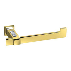 Windisch - Gold Brass Toilet Paper Holder With White Crystal - Contemporary style rectangular wall mounted toilet roll holder. Made out of high quality brass finished in gold. Features elegant white Swarovski crystals for decoration. Made in and imported from Spain by Windisch. Gold toilet roll holder. Made from durable, built-to-last brass. Includes white Swarovski crystals. Mounts to bathroom wall with screws. For the contemporary style bathroom. Made in Spain by Windisch.