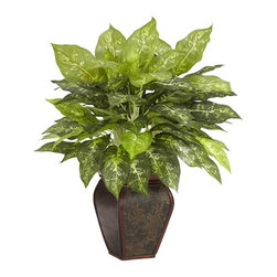 Dieffenbachia with Decorative Vase Silk Plant - The Dieffenbachia is a favorite addition to any home or office due to its large, stylish leaves, which also sport simple yet beautiful patterns along their rich, green surfaces. With a star-like cascade of foliage bursting out of an elegantly designed textured brown vase, this traditional favorite is sure to add a burst of life to any environment. Height= 23 in x Width= 20 in x Depth= 20 in