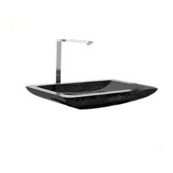 "Modo Bath - Vogue Aluvo A02 Vessel Sink in Black/Silver 25.5"" x 16.1"" - Vogue Aluvo A02 Vessel Sink in Black/Silver, Made of Alumix"