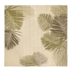 "Trans-Ocean - Palms Green 7'10"" SQ Indoor/Outdoor Flatweave Rug - Casual and Simple pattern combined with beautifully blended yarns in modern colors make this Machine Made rug rise above the rest. Wilton Woven in Turkey of 100% Polypropylene and UV stabilized for Indoor or Outdoor use. A loose weave of Polypropylene creates the look of natural fibers but is easy to care for."