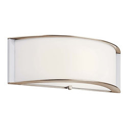 """Kichler 1-Light Wall Light - Polished Nickel - One Light Wall Light Contemporary curves are highlighted by the clean tones of the matte white acrylic diffuser on this energy efficient lighting wall sconce. From the Arcola collection, a polished nickel finish pulls the look together. Ada compliant. Back plate height: 4. 75"""" . Back plate width: 15"""" . Height from center outlet: 2. 75"""""""