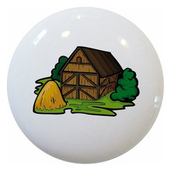 Carolina Hardware and Decor, LLC - Barn Haystack Ceramic Cabinet Drawer Knob - 1 1/2 inch white ceramic knob with one inch mounting hardware.  Great as a cabinet, drawer, or furniture knob.  Adds a nice finishing touch to any room!