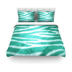 """Kess InHouse - Nick Atkinson """"Blue Zebra Print Texture"""" Cotton Duvet Cover (Queen, 88"""" x 88"""") - Rest in comfort among this artistically inclined cotton blend duvet cover. This duvet cover is as light as a feather! You will be sure to be the envy of all of your guests with this aesthetically pleasing duvet. We highly recommend washing this as many times as you like as this material will not fade or lose comfort. Cotton blended, this duvet cover is not only beautiful and artistic but can be used year round with a duvet insert! Add our cotton shams to make your bed complete and looking stylish and artistic! Pillowcases not included."""