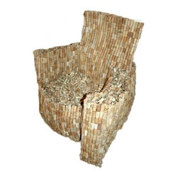 EcoFirstArt - Loose Cork Armchair - Limited Edition 2/5 - Your old armchair will be toast when you drink this one in. It's crafted of recycled wine corks in a traditional shape that's both generously sized and comfortable. You'll spend many happy hours in this seat, and get a great conversation piece to boot.
