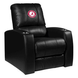 Dreamseat Inc. - University of Alabama NCAA Crimson Tide Home Theater Leather Recliner - Check out this Awesome Leather Recliner. Quite simply, it's one of the coolest things we've ever seen. This is unbelievably comfortable - once you're in it, you won't want to get up. Features a zip-in-zip-out logo panel embroidered with 70,000 stitches. Converts from a solid color to custom-logo furniture in seconds - perfect for a shared or multi-purpose room. Root for several teams? Simply swap the panels out when the seasons change. This is a true statement piece that is perfect for your Man Cave, Game Room, basement or garage. It combines contemporary design with the ultimate comfort from a fully reclining frame with lumbar and full leg support.