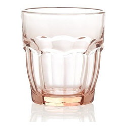 Carley Pink Double Old-Fashioned Glass - The familiar, casual shape of the classic bistro glass sits well in hand and is a great choice for everyday dining. Specially tempered soda lime glass is cold and heat resistant, and because it has no lead it's 100% recyclable.