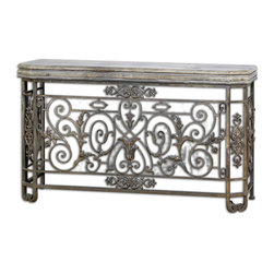 Uttermost - Kissara Metal Console Table - Gracefully decorated with acanthus leaves, scrolls and blossoms, this open forged metal console table is reminiscent of Old World garden gates. The beautiful tarnished silver patina brings an elegant feeling to your foyer or dining room. Pair it with the matching silver mirror for ultimate Tuscan elegance.