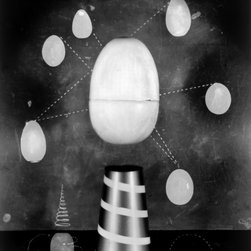 """Trompe l' Oeuf - Original Fine Art Photography - A magical photograph, the title refers to """"hyper-realistic paintings"""" that fool the eye. """"l�Oeuf"""" is the French word for """"egg,"""" which references the """"floating"""" eggs that fool the eye. The central egg is suspended and the other eggs encircle it like planets in a solar system."""